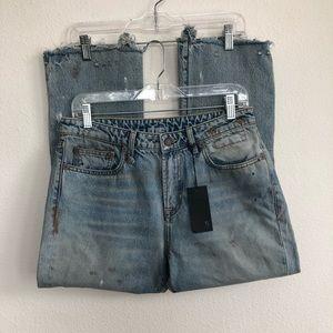 R 13 kick fit thompskins Distress Cropped Jeans